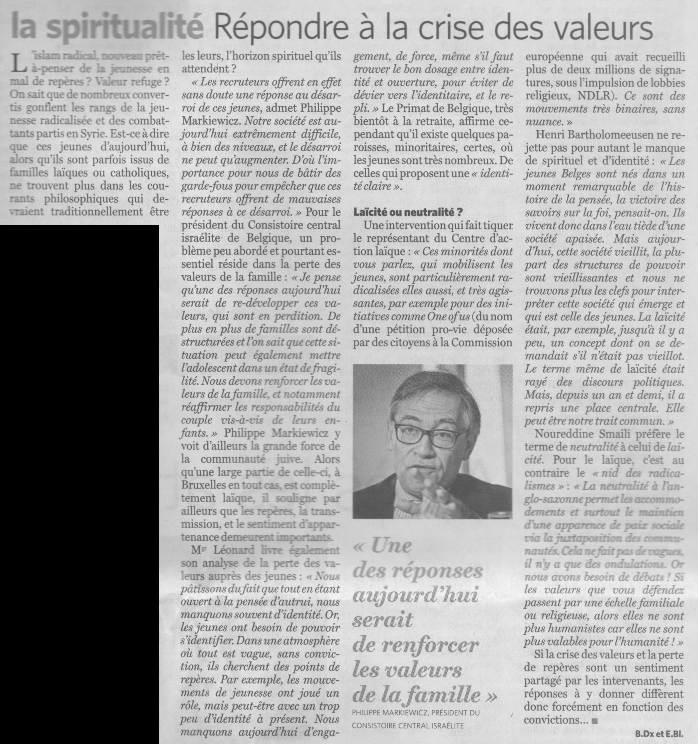 Interview Le Soir - 26 novembre
